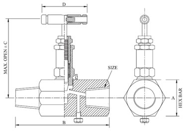 Hex Needle Valve with Vent Diagram